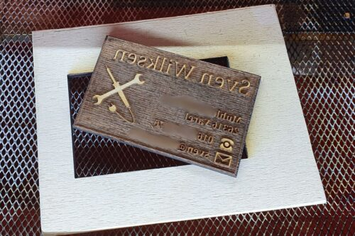 Gelaserter Druckstock aus Birkensperrholz