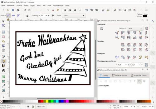 Mehrsprachige Weihnachtkarte in Inkscape