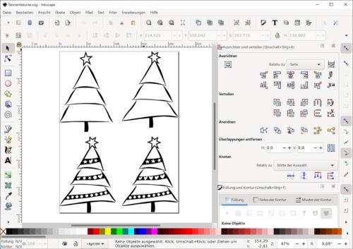 Vier Clipart Tannenbäume in Inkscape