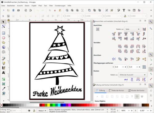 """Weihnachtkarte """"Frohe Weihnachten"""" in Inkscape"""