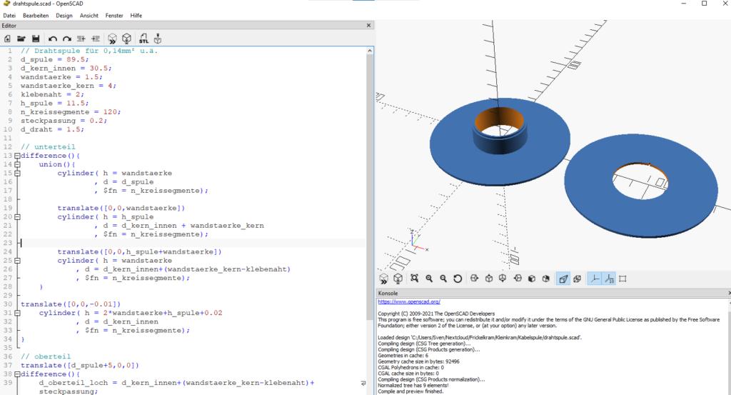 OpenSCAD Screenshot, Quellcode und Ergebnis
