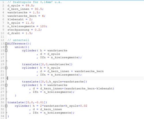 Etwas OpenSCAD Code